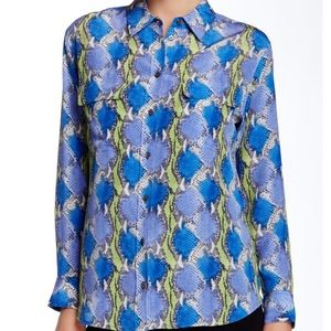 Equipment Signature Silk Blouse Snake Blue Green S